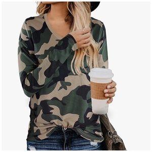 New V-Neck Camouflage 3/4 Sleeve Tee Shirt…